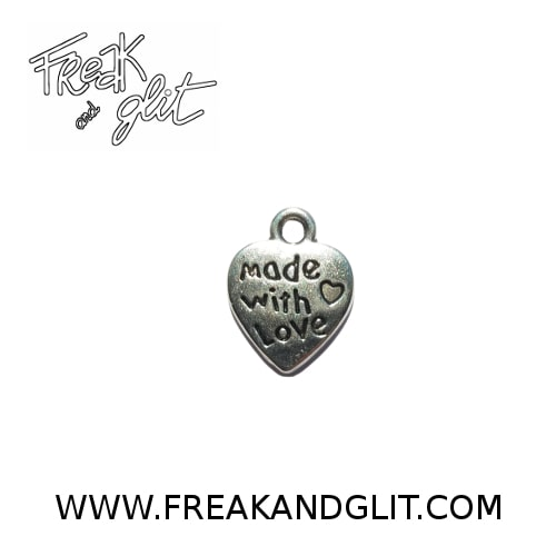 """Charm Cuore """"made with love"""" argento antico (10 pezzi)"""
